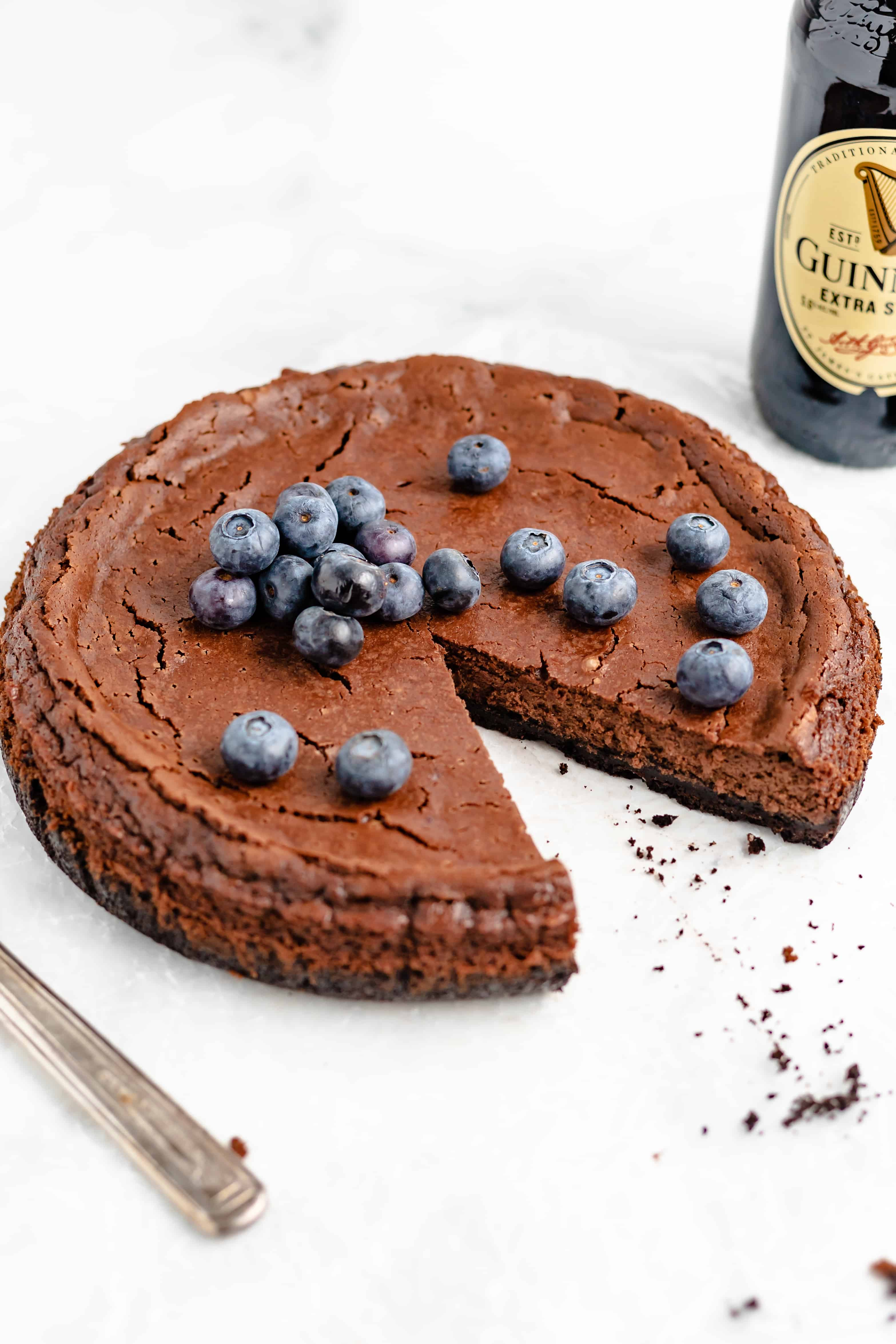 Chocolate cheesecake with a twist - Guiness stout enhances the chocolate flavor!