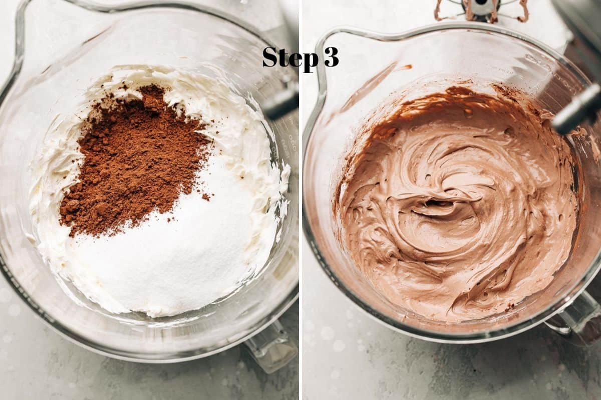 cream cheese, cocoa powder, and sugar in a mixing bowl, and whipped chocolate cream cheese in a bowl.