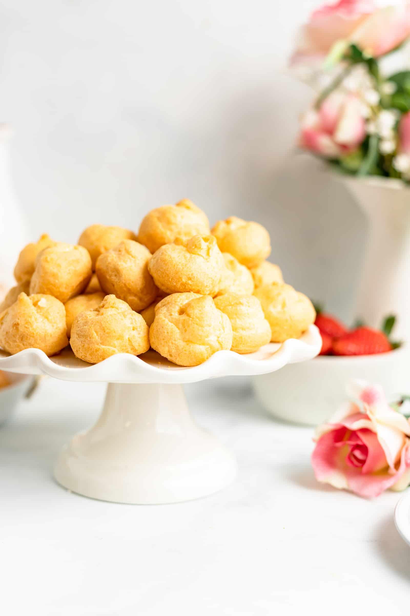 Cream Puffs on Serving Platter