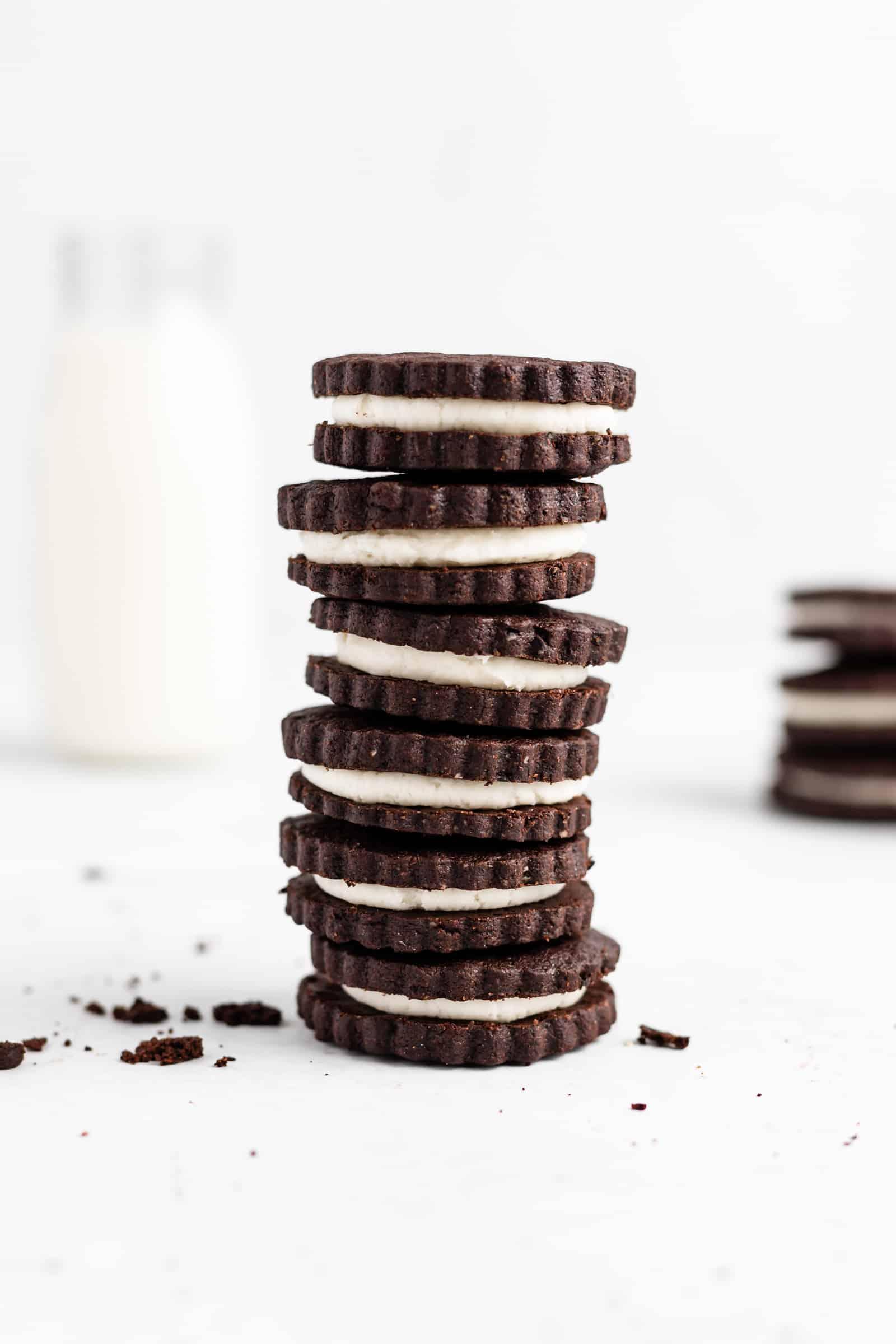 Homemade Oreo Cookies (Cream Filled Chocolate Sandwich Cookies)