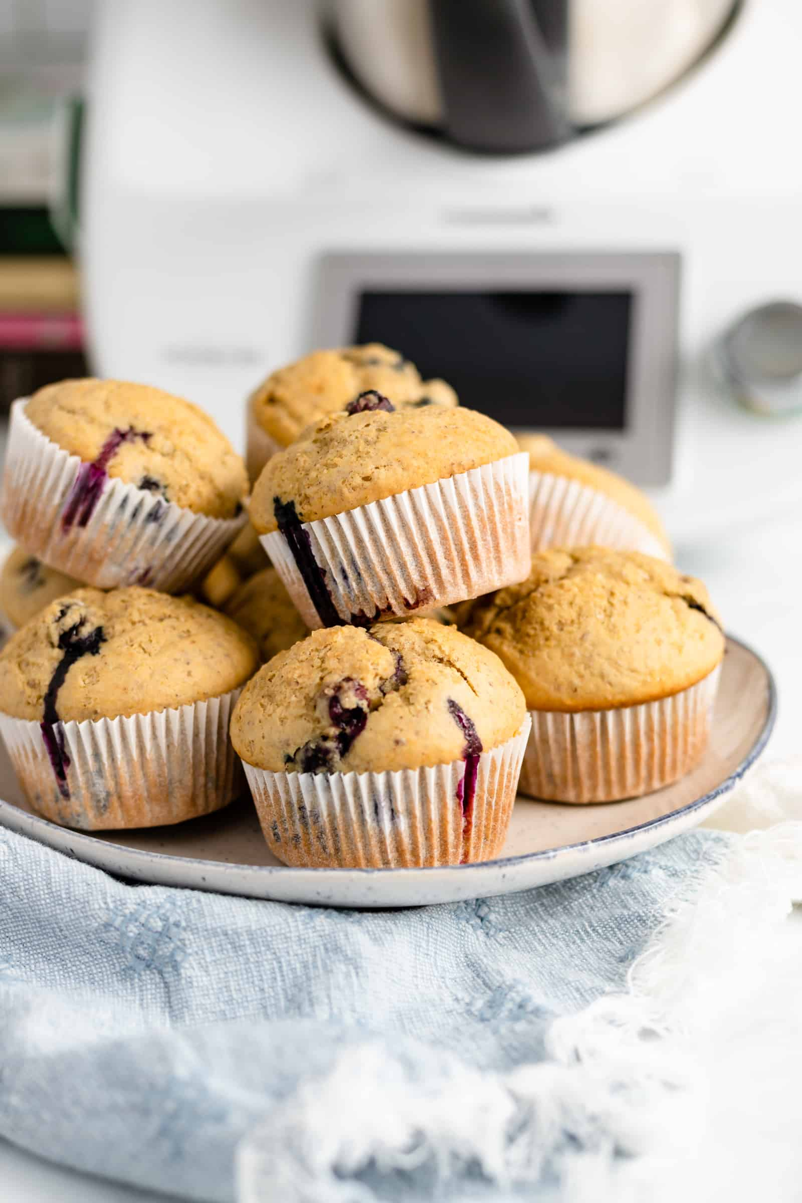 These Thermomix Blueberry Flax Muffins are moist, fluffy, and wholesome, with crispy tops. This will be your new favorite breakfast or snack!
