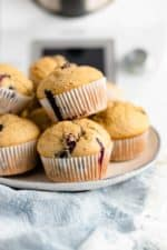 Blueberry Flaxseed Muffins - a delicious and easy recipe that freezes well!