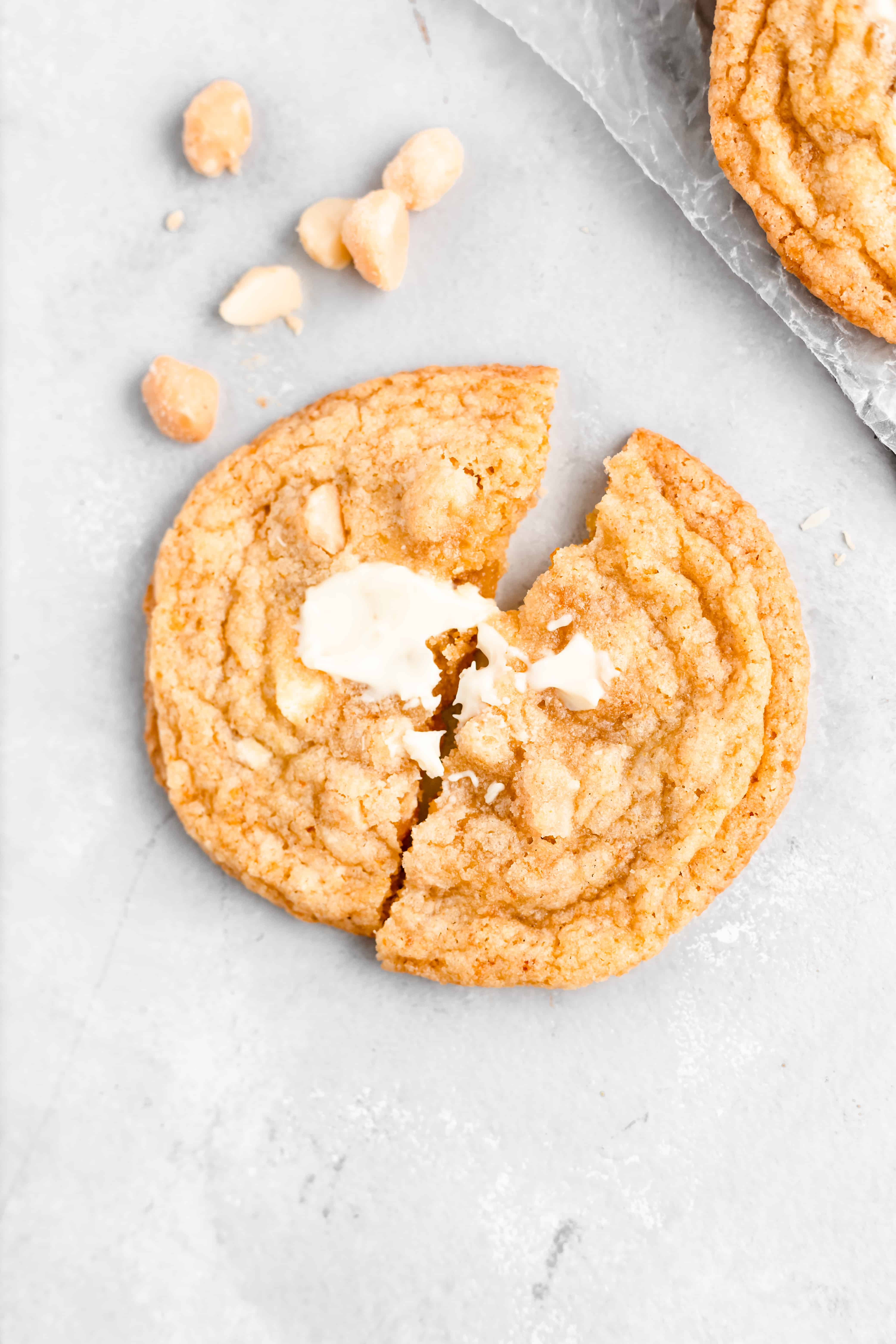 White Chocolate Orange Macadamia Nut Cookie recipe - crisp edges, soft and chewy centers!