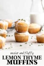 Lemon thyme muffins with lemon glaze.