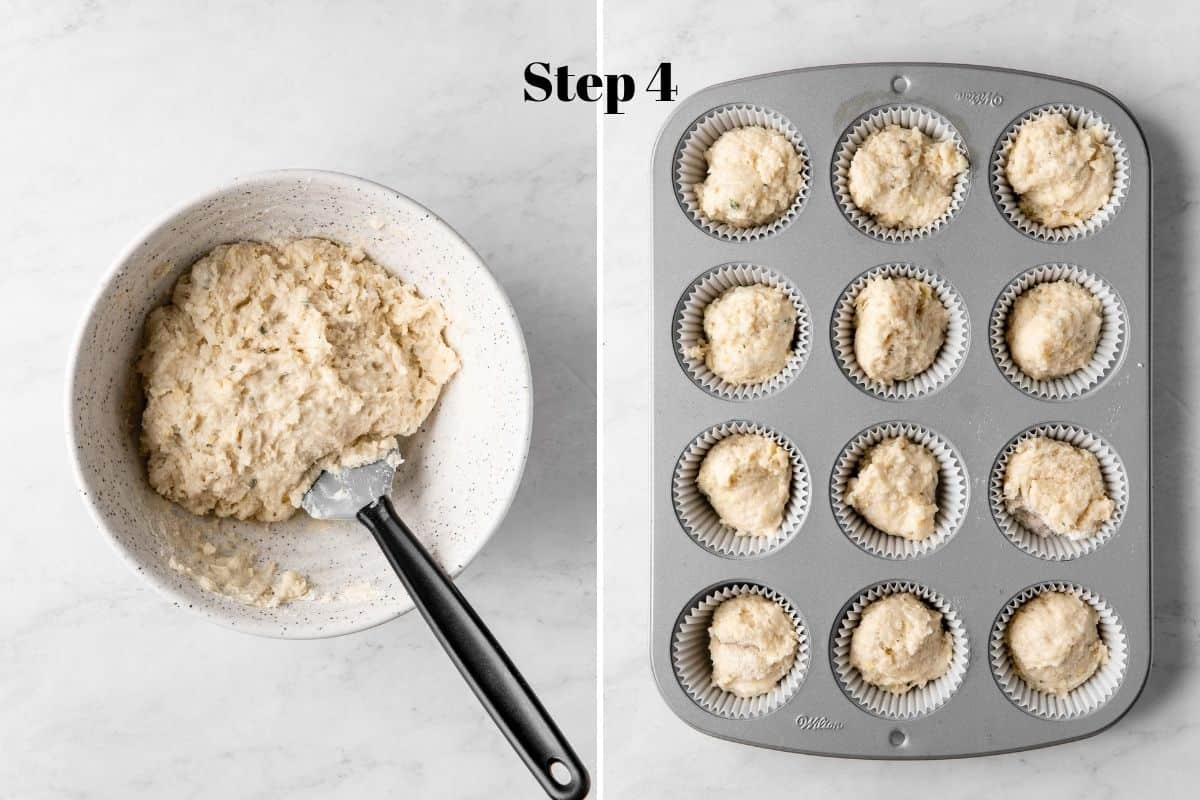 Lemon thyme muffin batter in a bowl with a rubber spatula and lemon thyme muffin batter divided in a muffin pan.