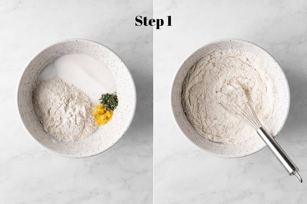 Flour, baking soda, salt, lemon zest, and thyme in a mixing bowl.