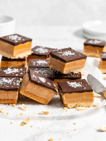 stack of Peanut Butter Millionaire Bars