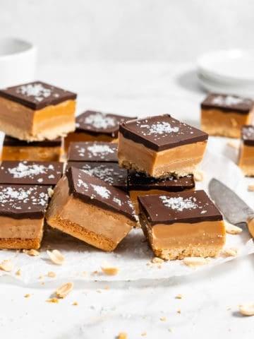 stack of Peanut Butter Millionaire Bars