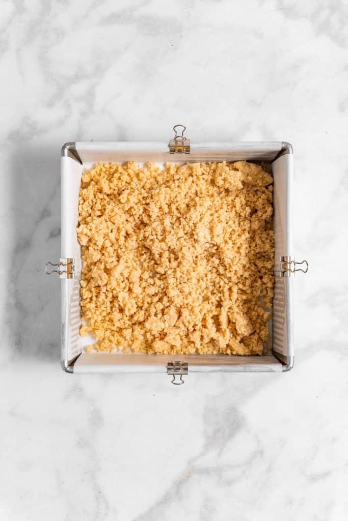 shortbread crust in a baking pan