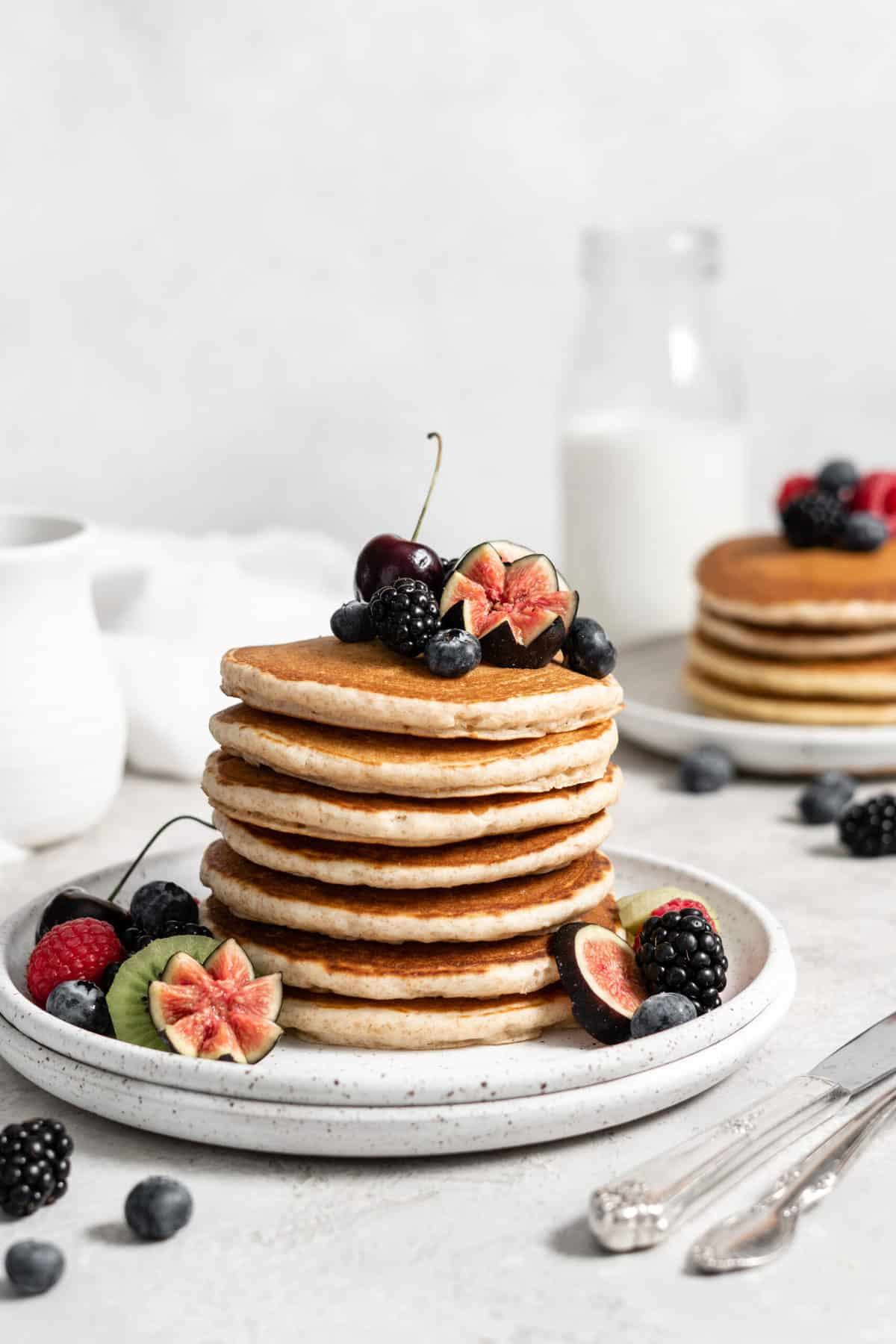 Protein pancakes with berries and fruits.