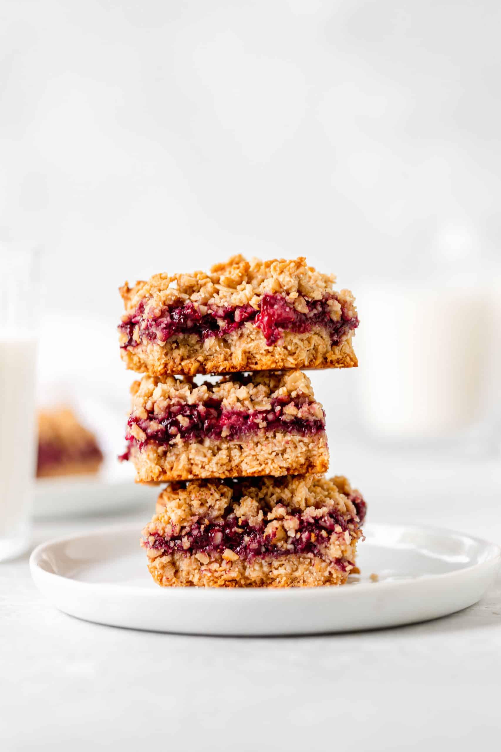stack of blackberry oat crumb bars