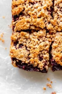 Close up of healthy blackberry crumble bar