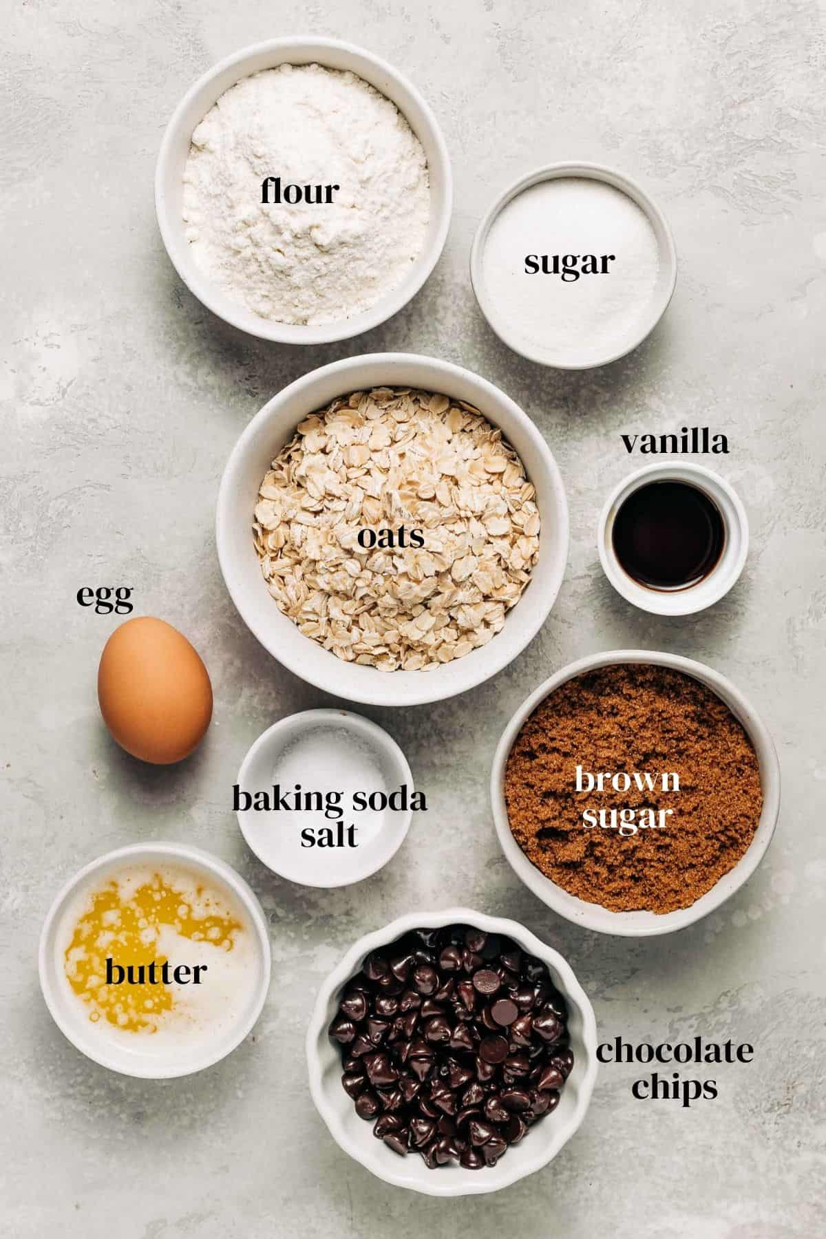 Ingredients needed to make oatmeal chocolate chip cookie bars.