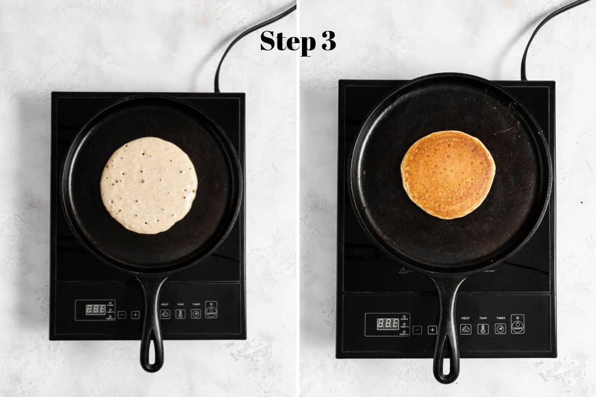 pancake cooking on a skillet.