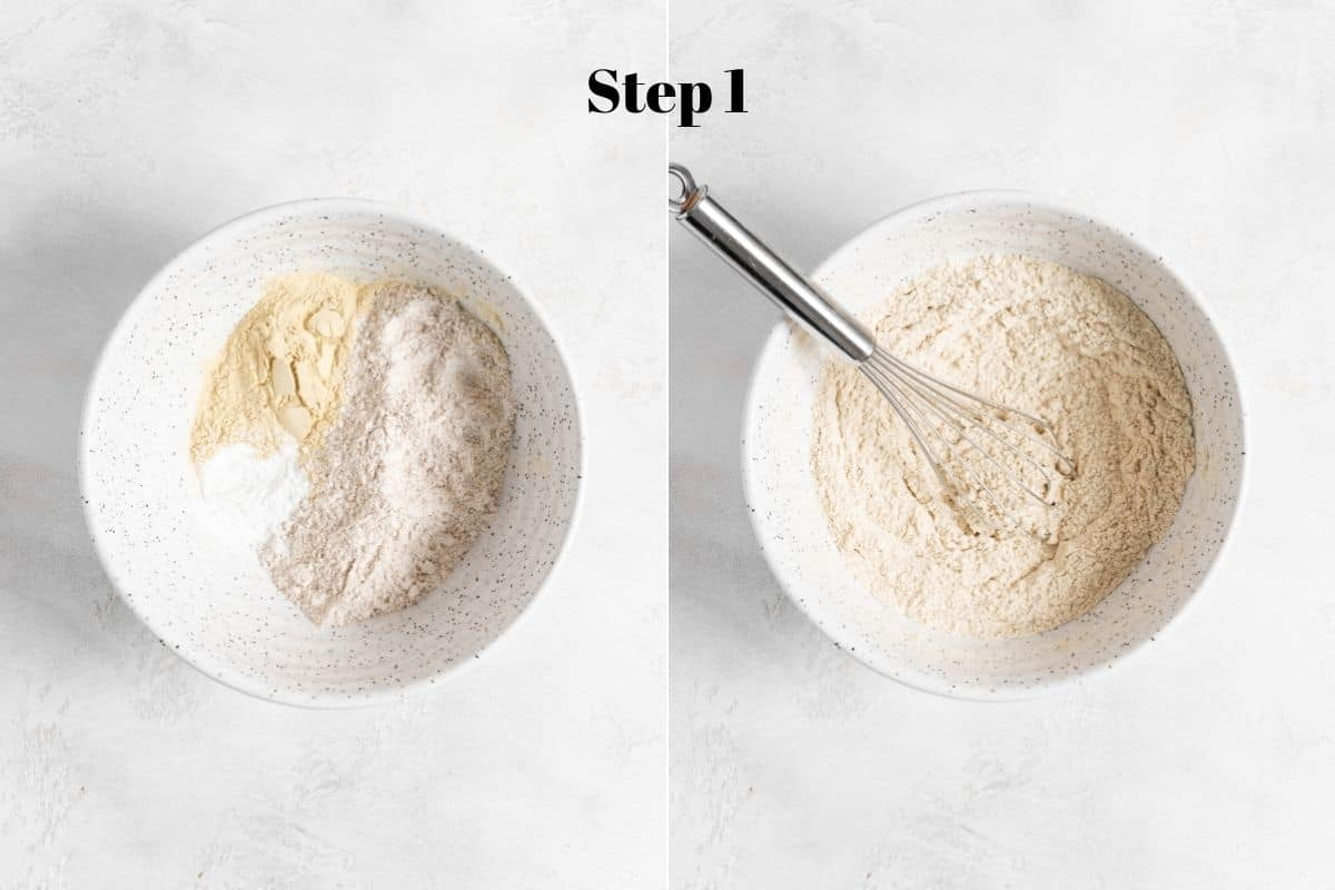 flour, baking powder, salt, and protein powder in a mixing bowl with a whisk.