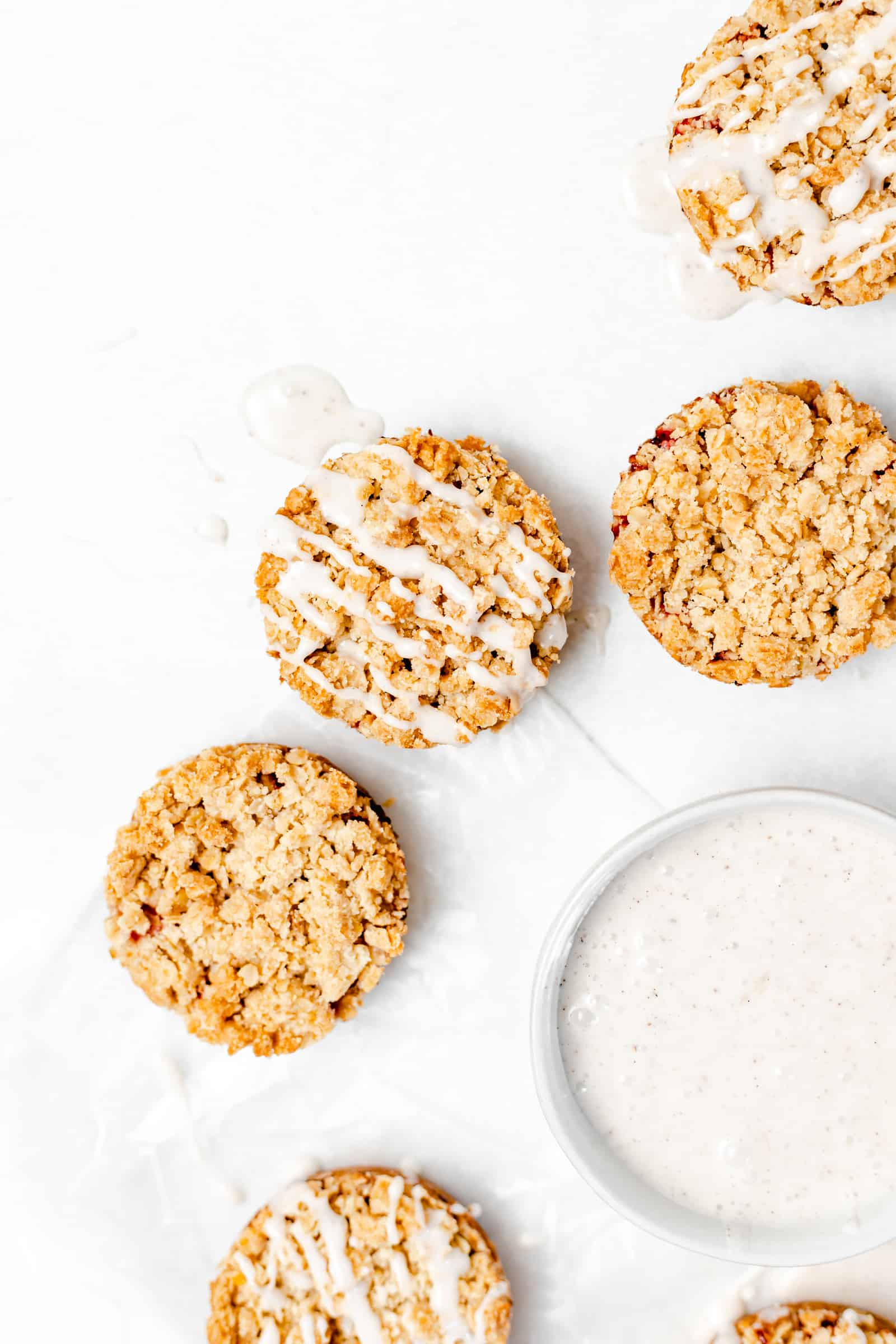 Strawberry Crumble Cookies with Vanilla Bean Glaze