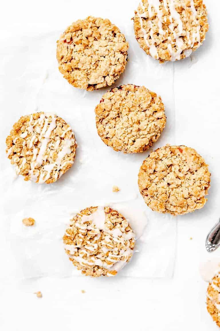 Strawberry Crumble Cookies with Vanilla Bean Glaze