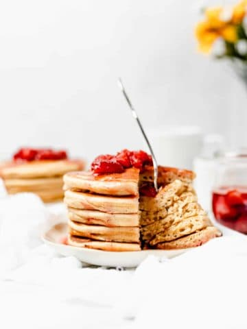 The Best Protein Pancakes Recipe with Strawberry Syrup