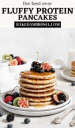 fluffy protein pancakes pin for Pinterest.