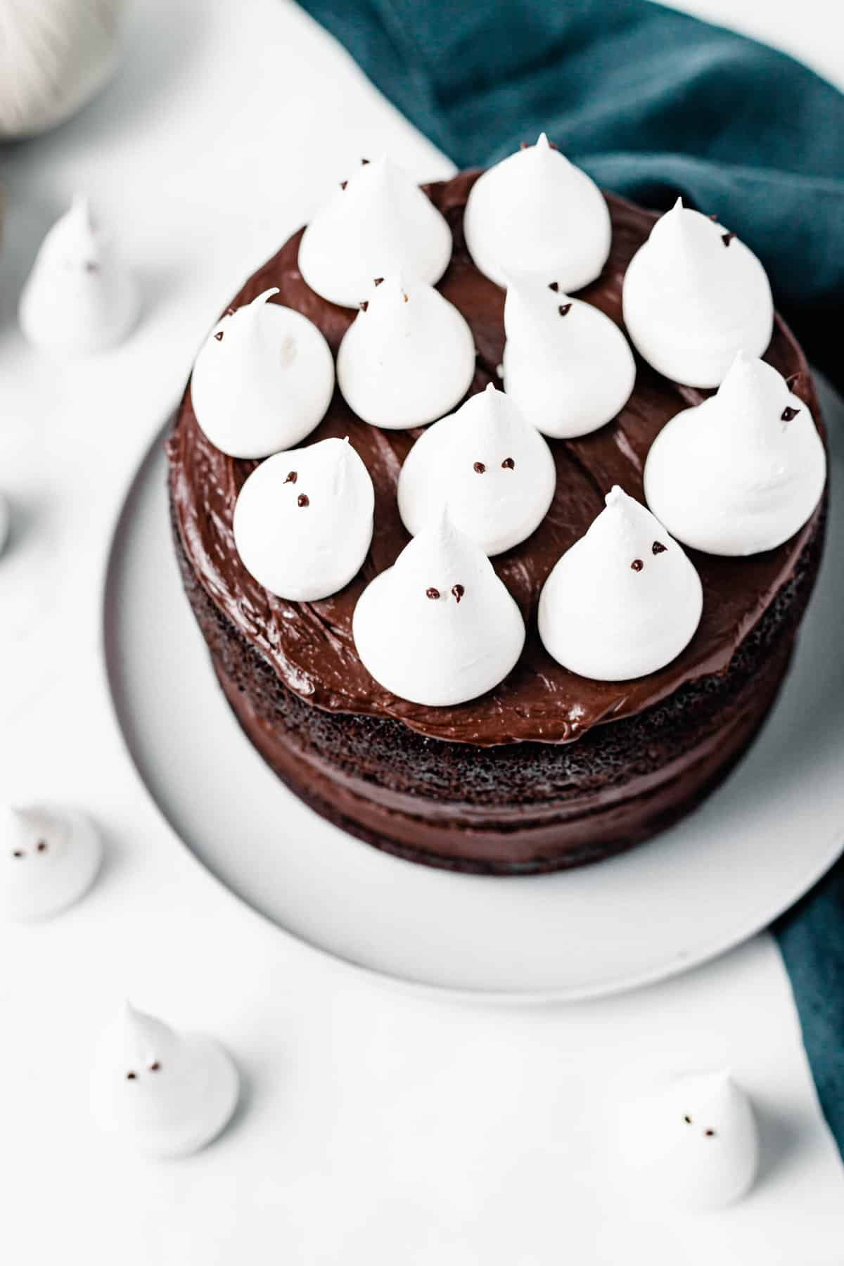 chocolate cake with meringue ghosts