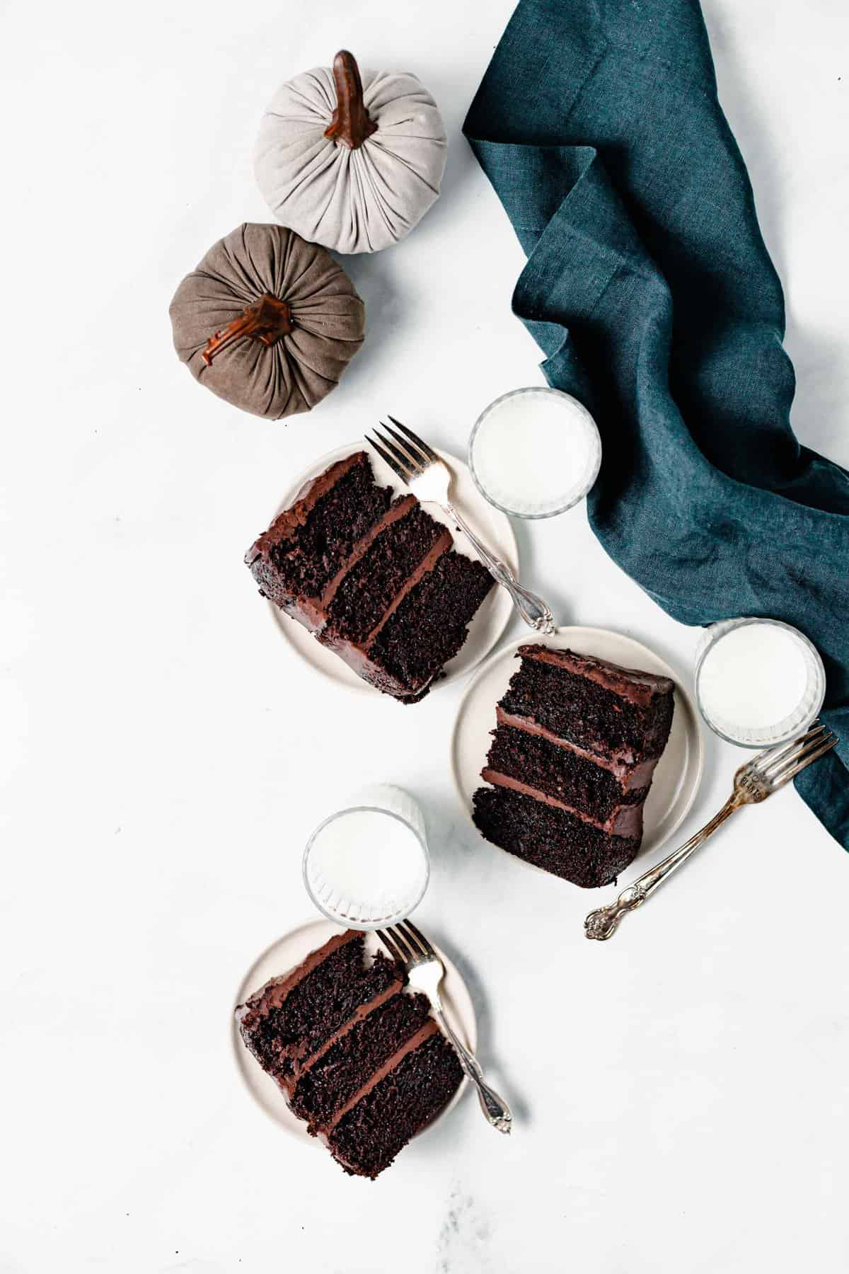 slices of chocolate cake