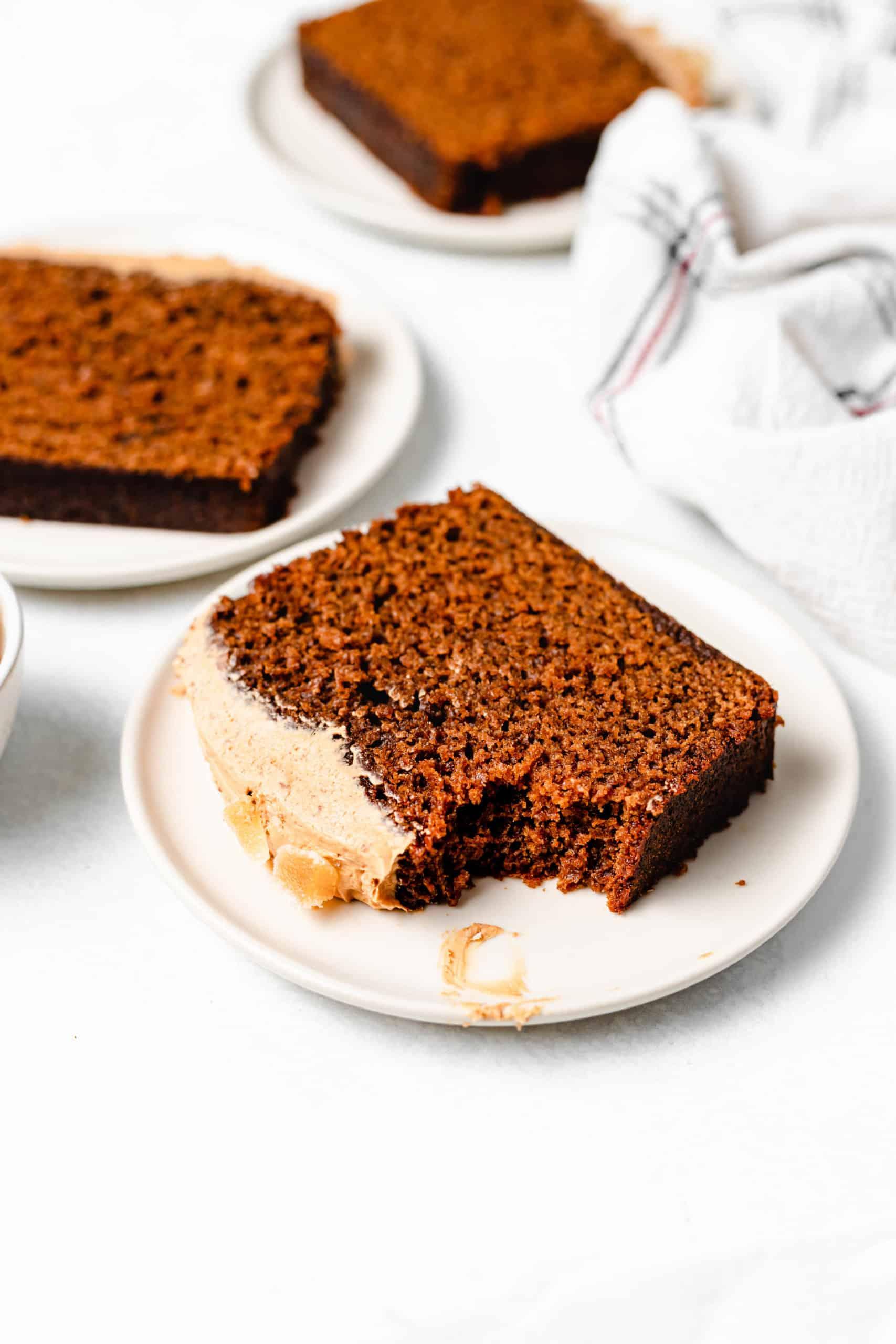 slice of moist gingerbread loaf