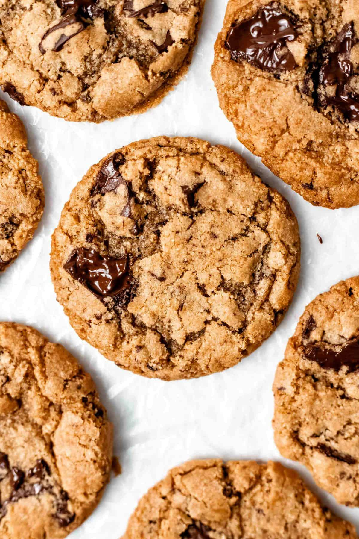 chocolate chip cookies on parchment paper