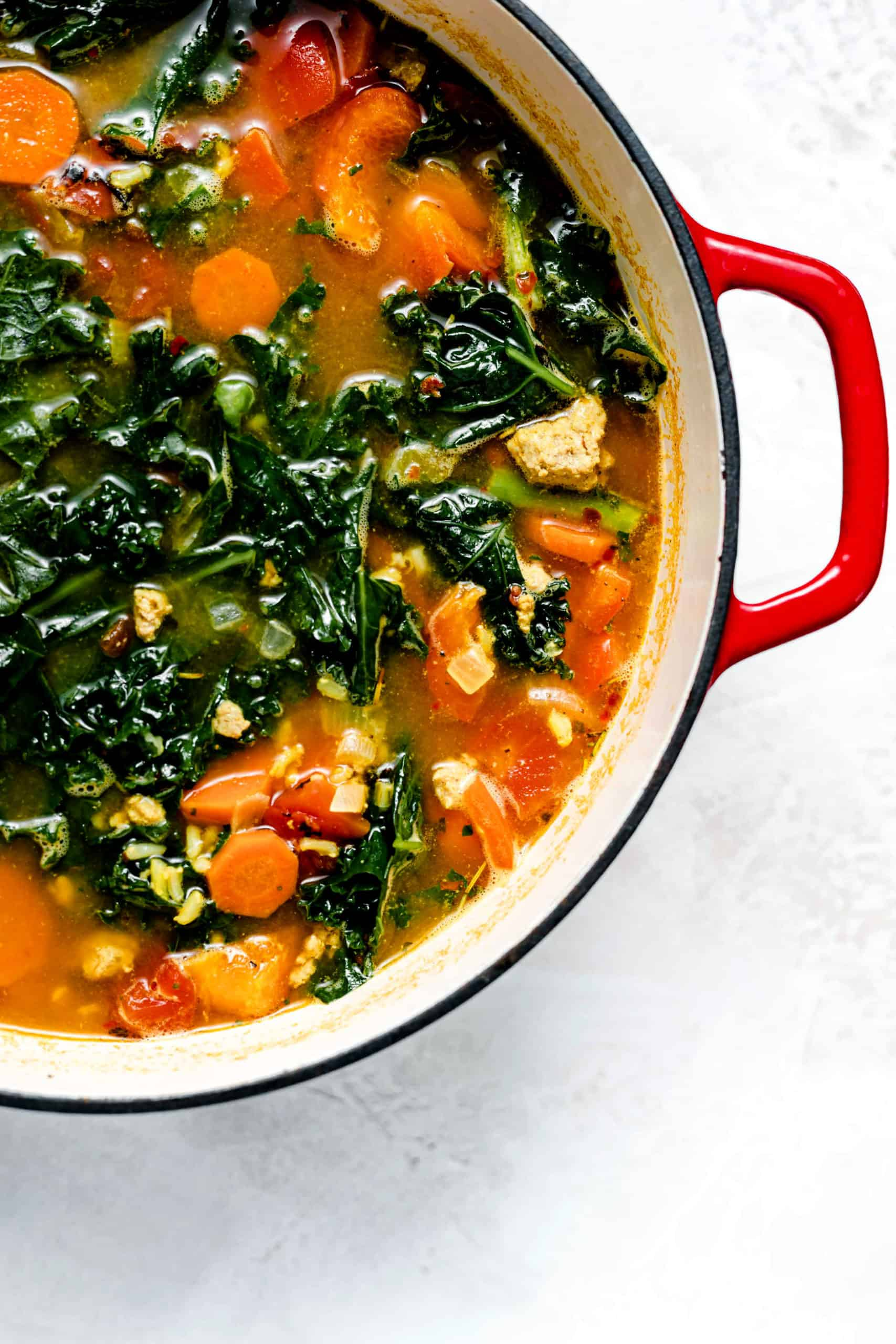 turkey kale and brown rice soup in pot