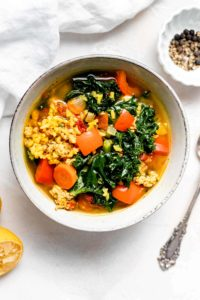 turkey kale and brown rice soup in bowl