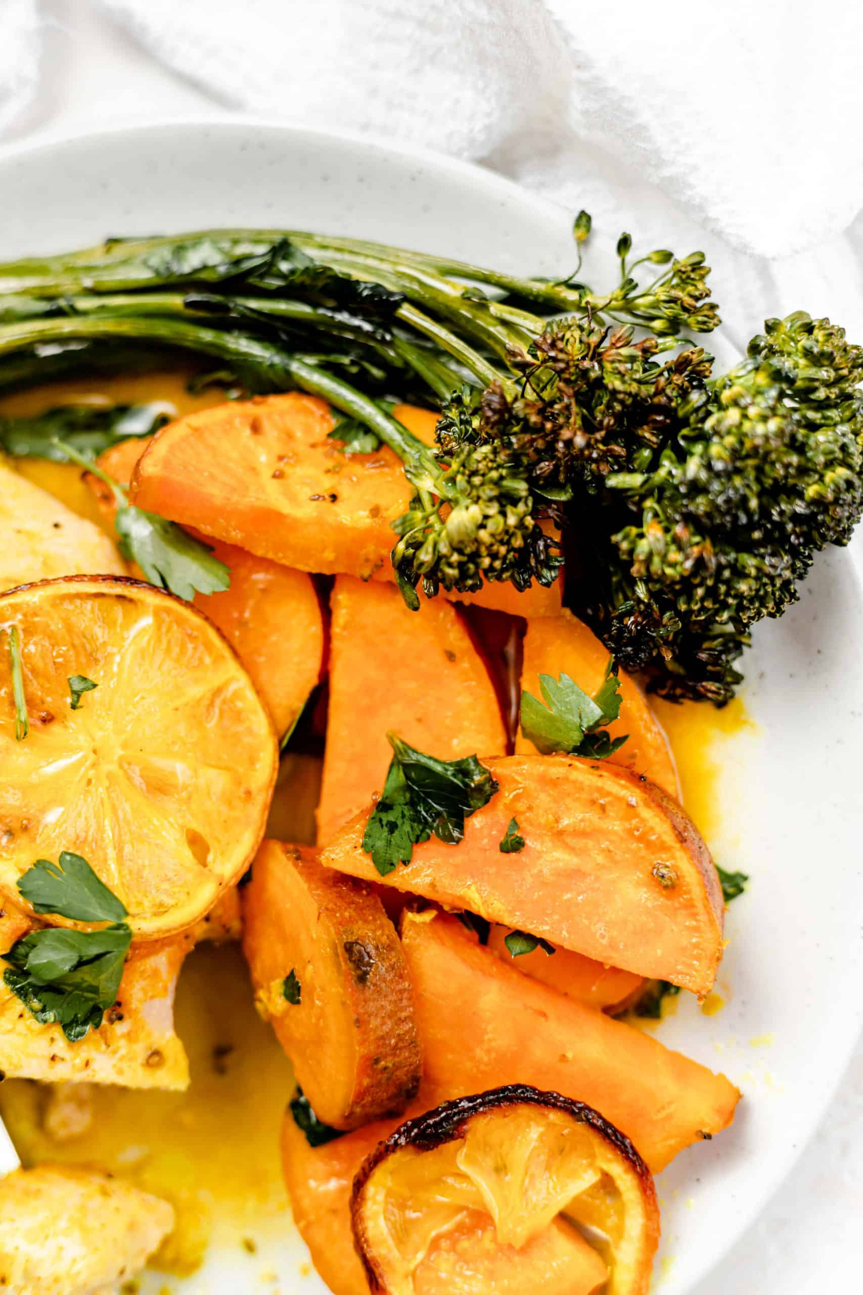 roasted sweet potatoes and broccolini