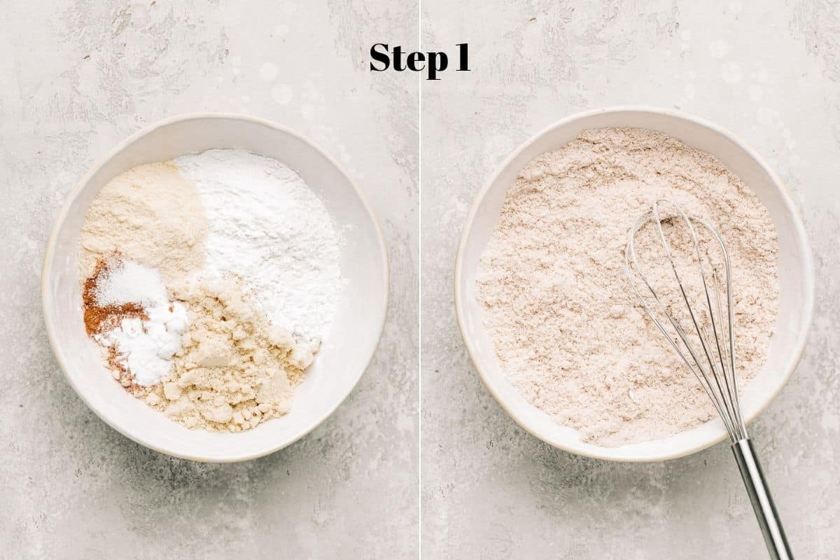 almond flour, tapioca flour, coconut flour, cinnamon baking soda, and salt in a mixing bowl.