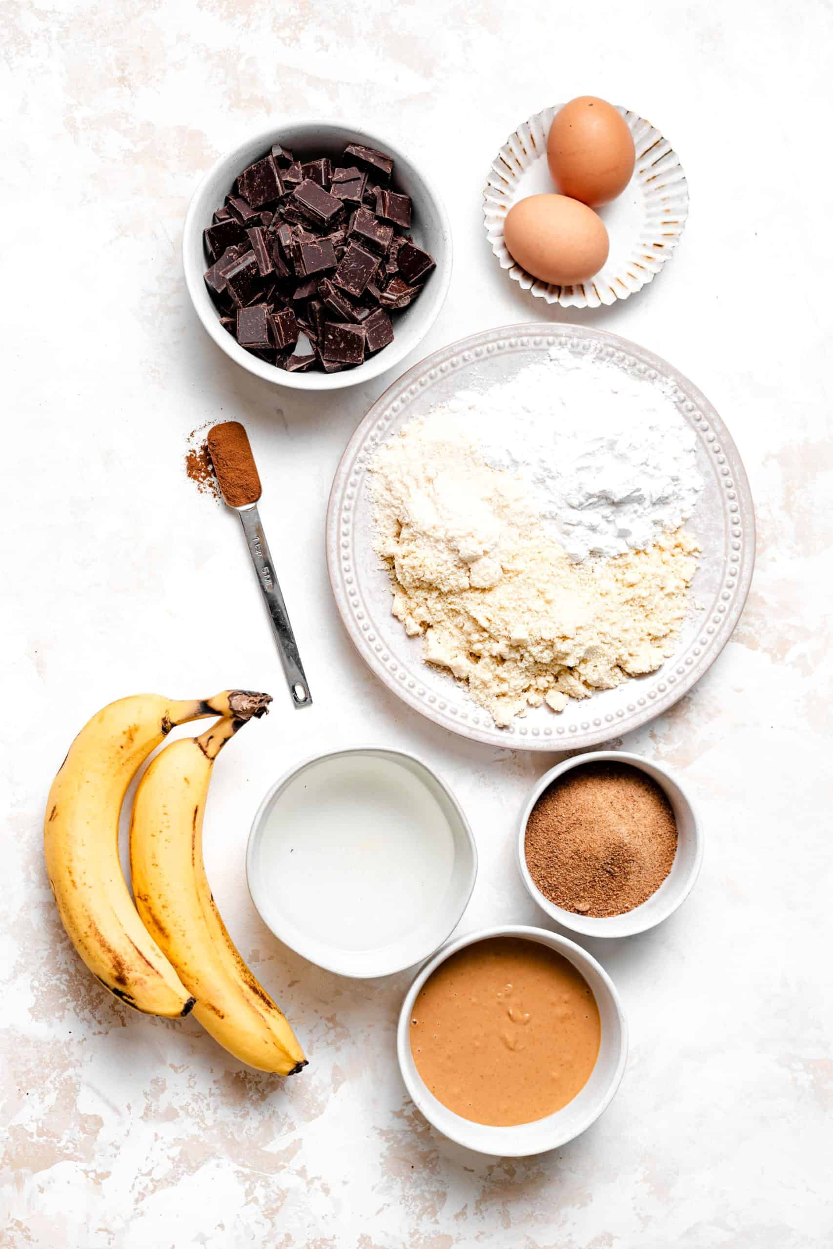 ingredients for paleo chocolate chip banana bread bars