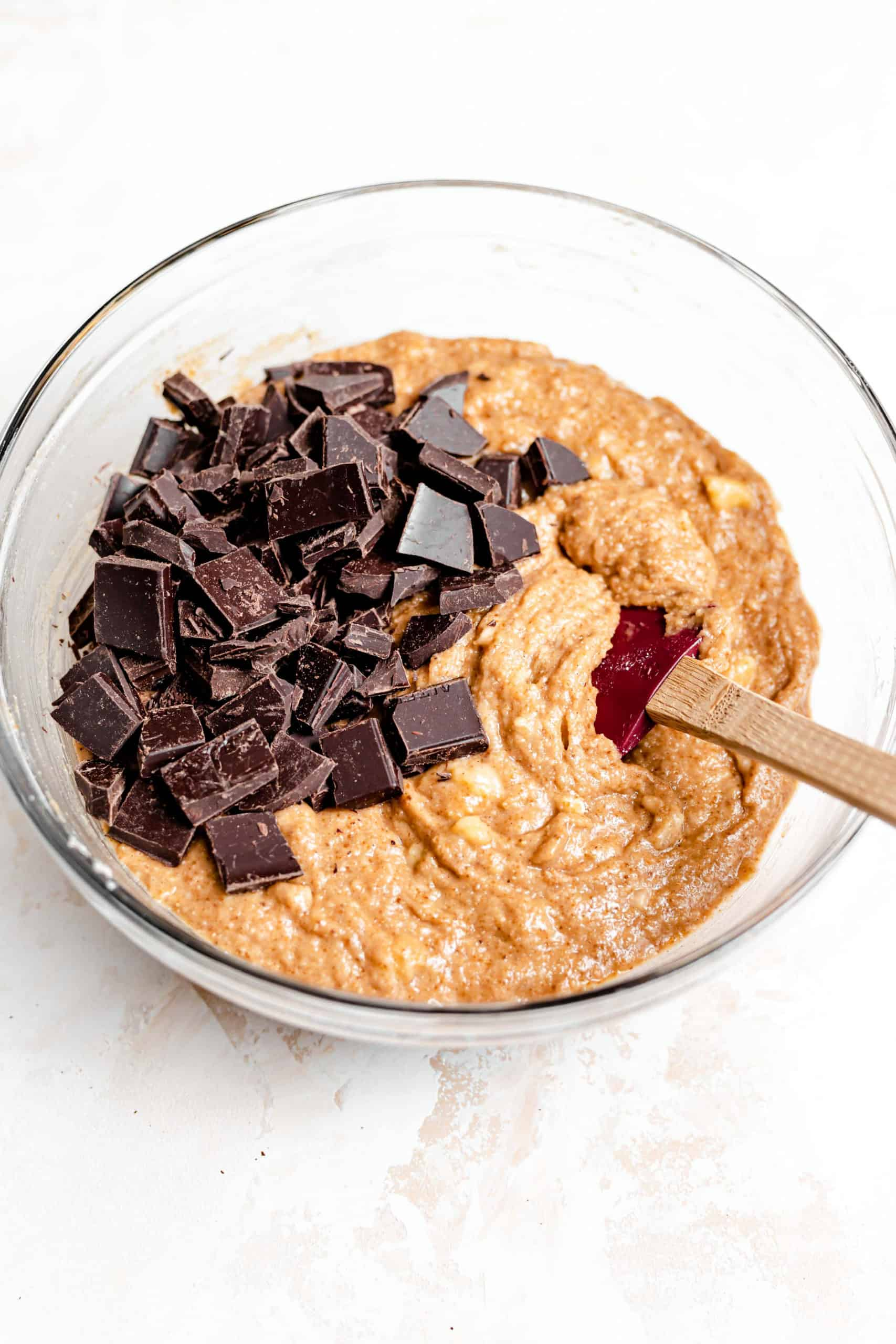 grain free banana bread batter with chocolate chunks