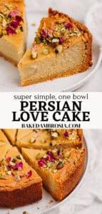 Pinterest pin for Persian love cake recipe.