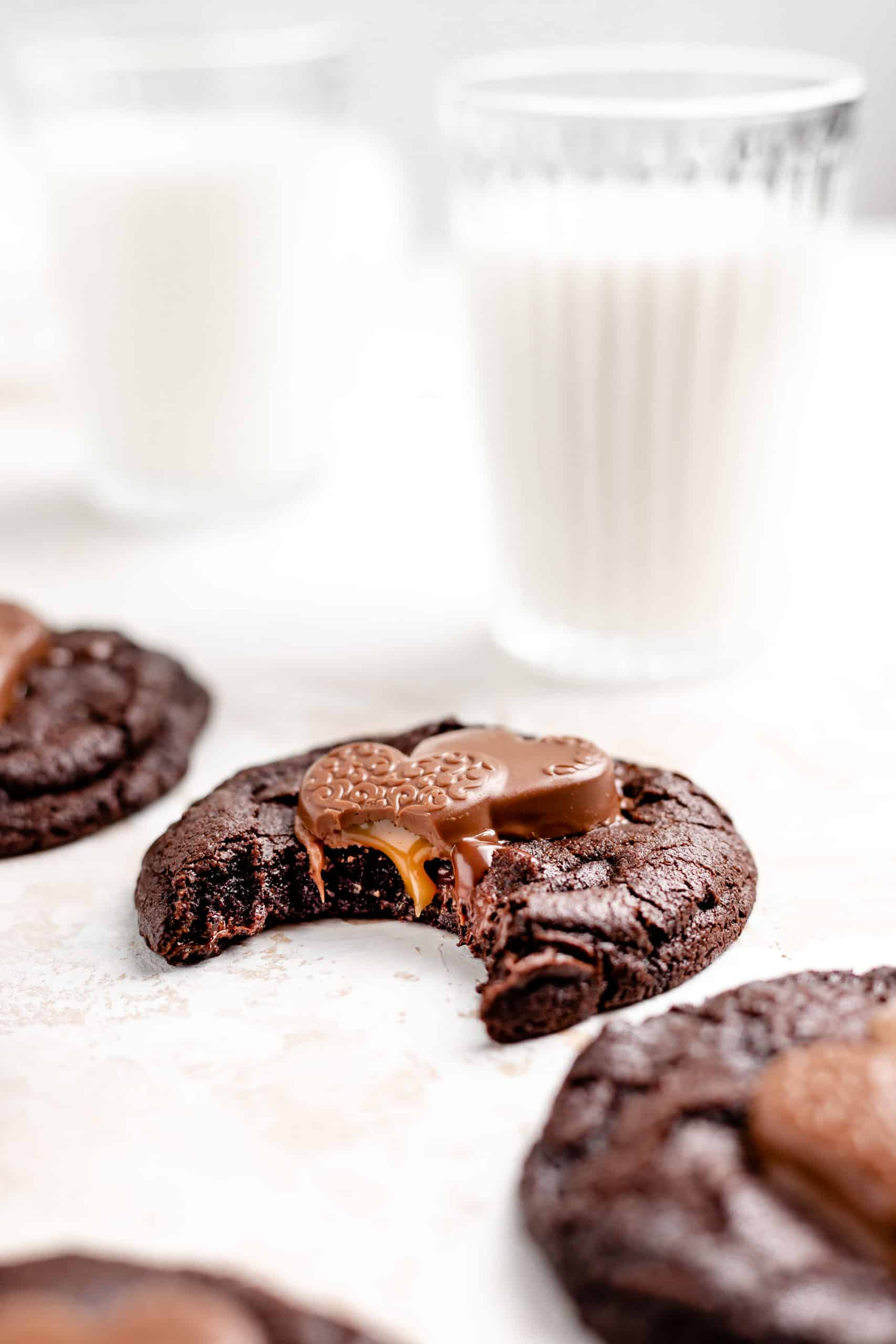 double chocolate cookie with caramel