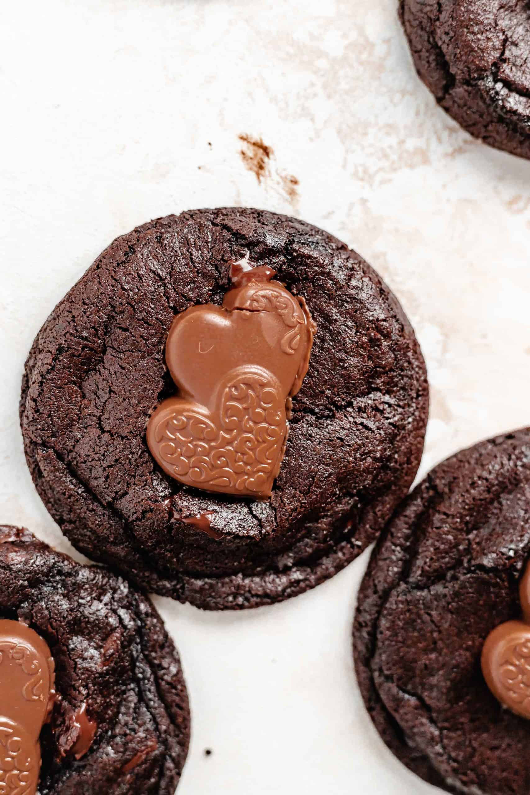 chocolate cookie with caramel filled chocolate hearts