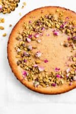 persian love cake with pistachios and dried rose petals