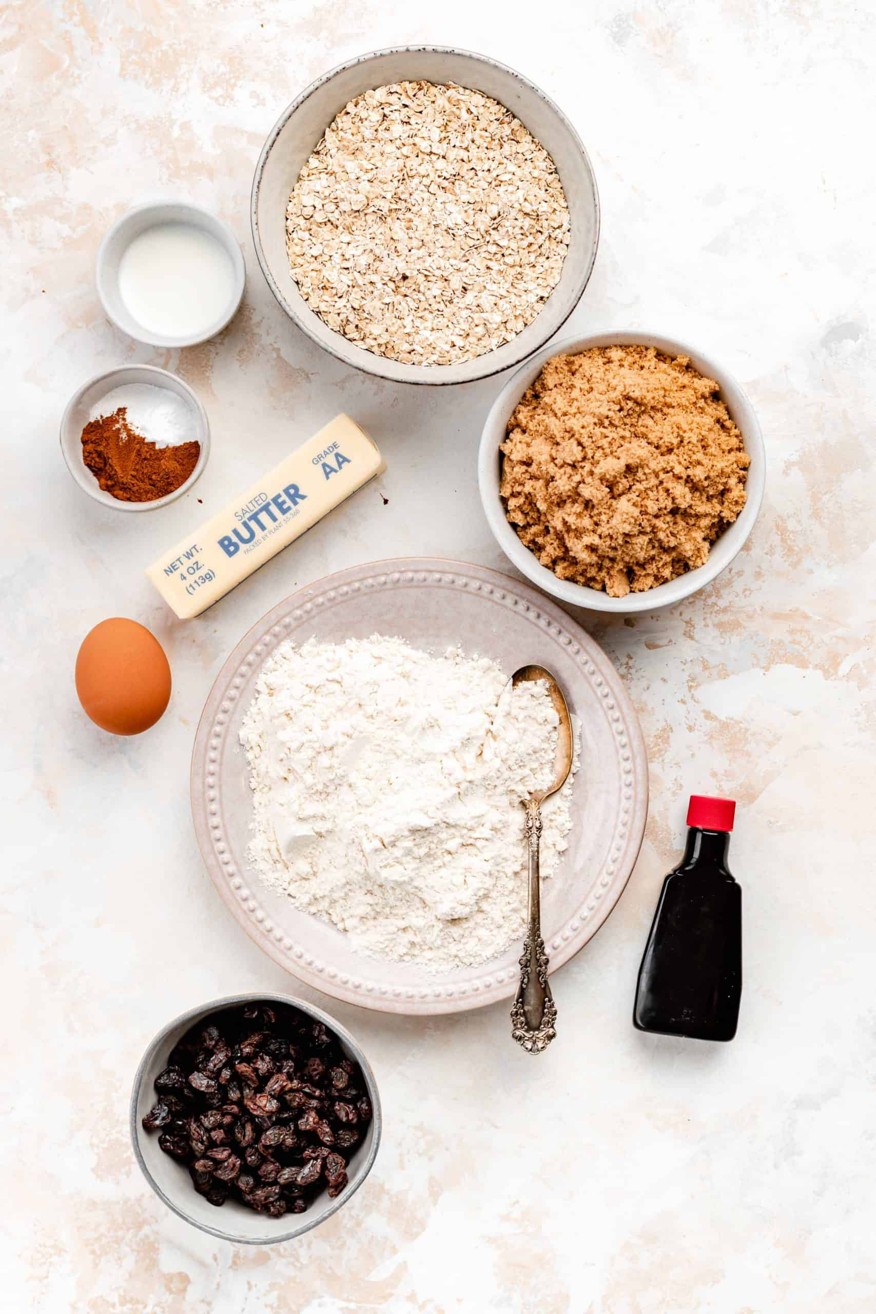 ingredients for bakery style chewy oatmeal raisin cookies