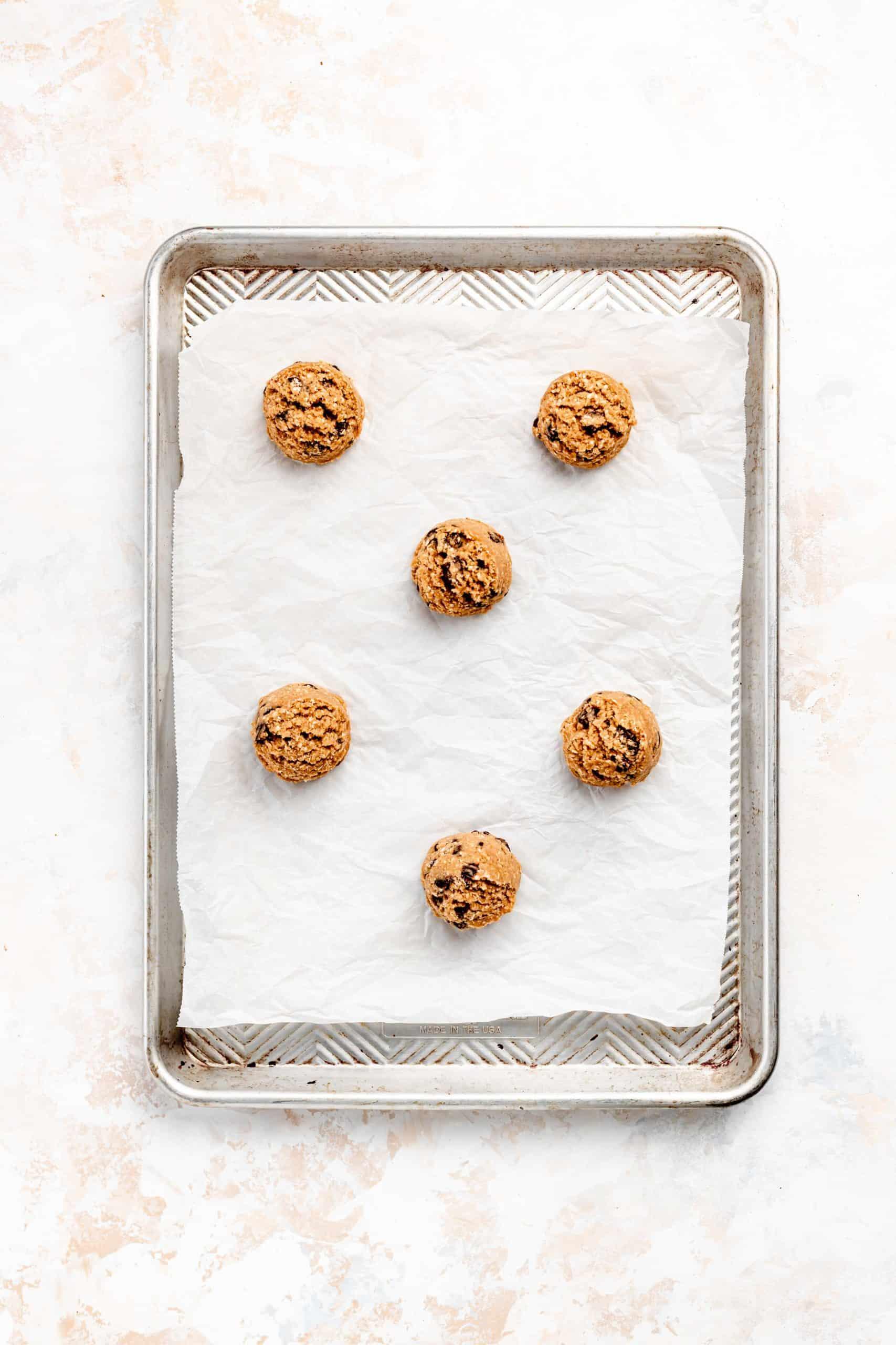 oatmeal raisin cookies on baking pan