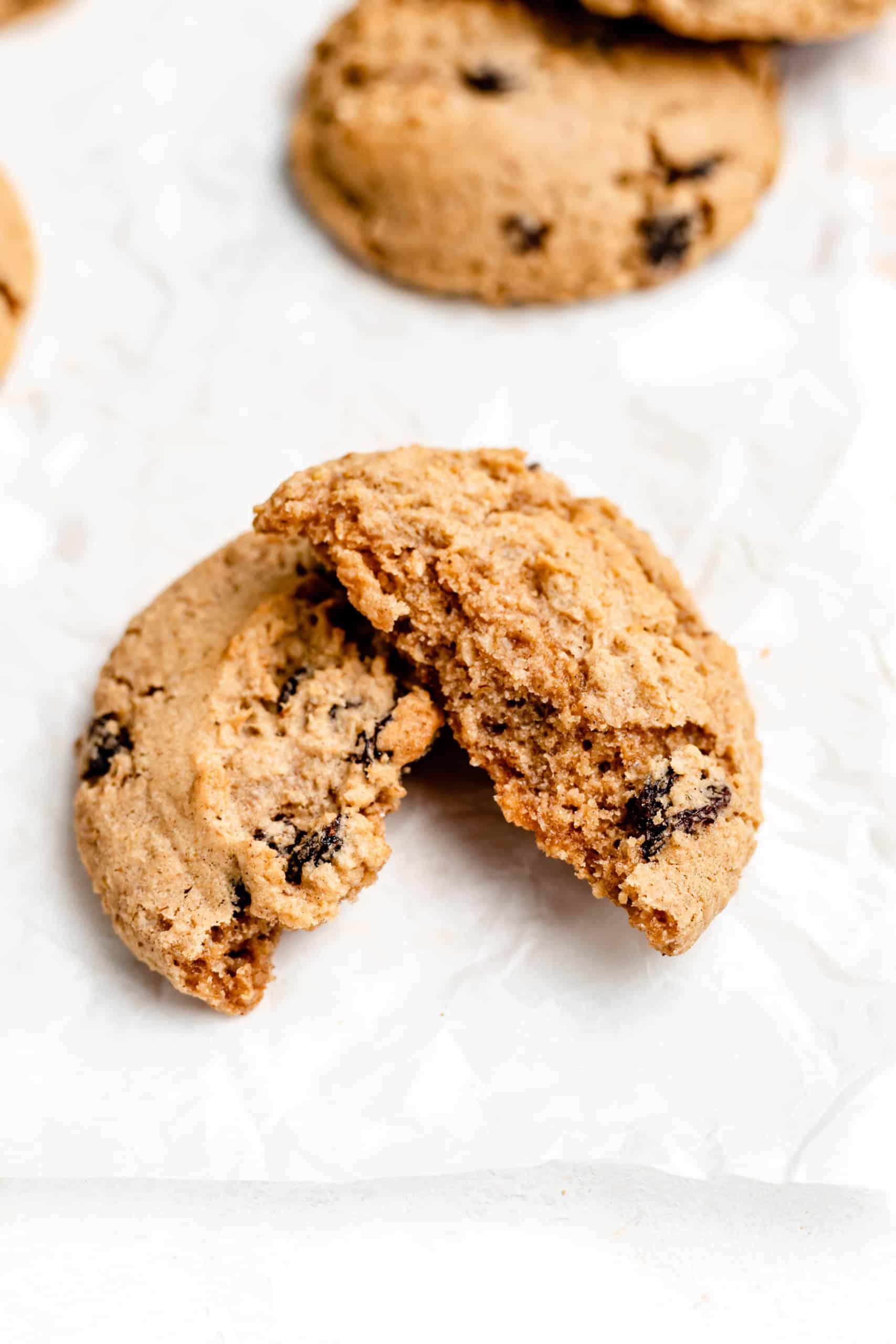 oatmeal raisin cookie cut in half