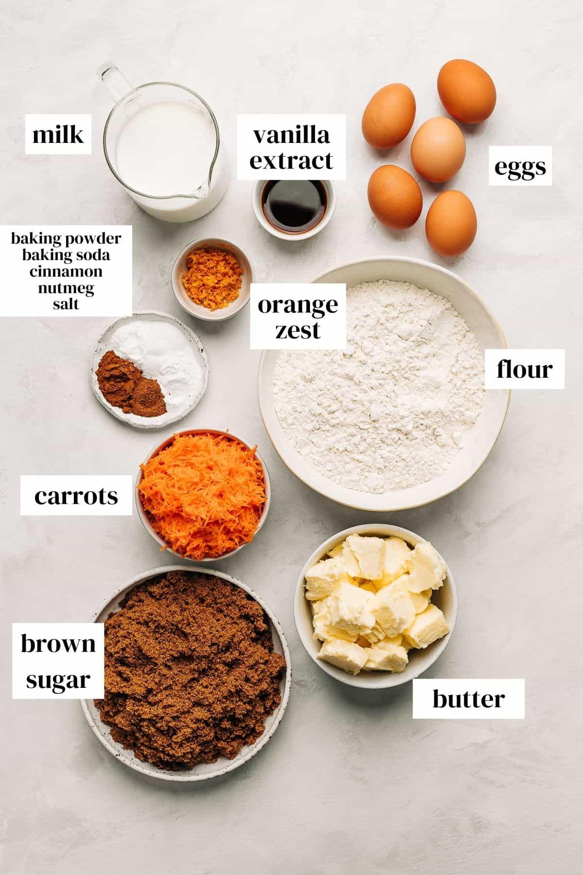 Carrot cake recipe ingredients.