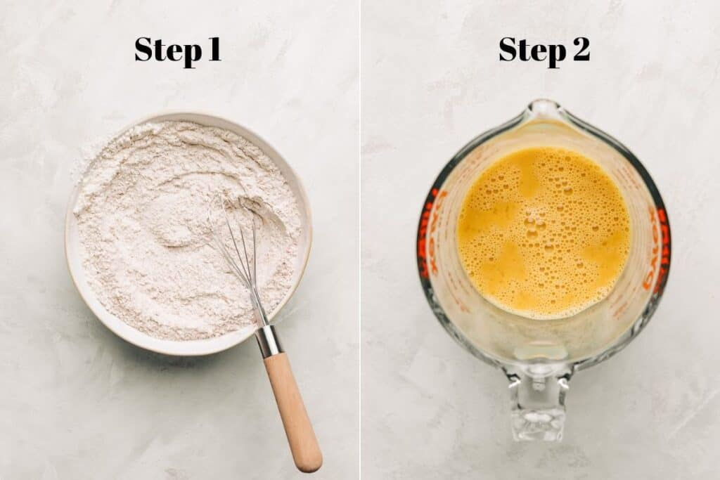 Flour mixture with a whisk in a bowl and beaten egg mixture in a glass measuring cup.