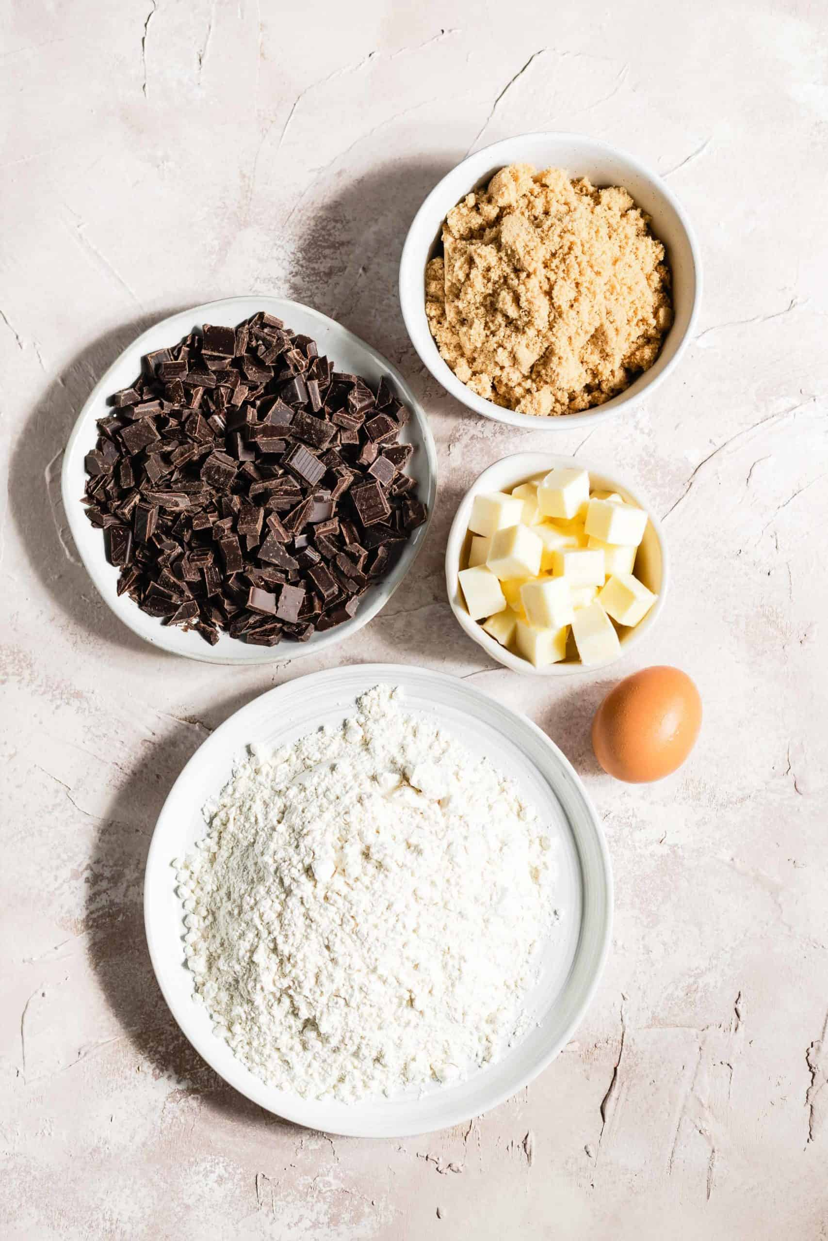 Ingredients for chocolate chip shortbread cookies