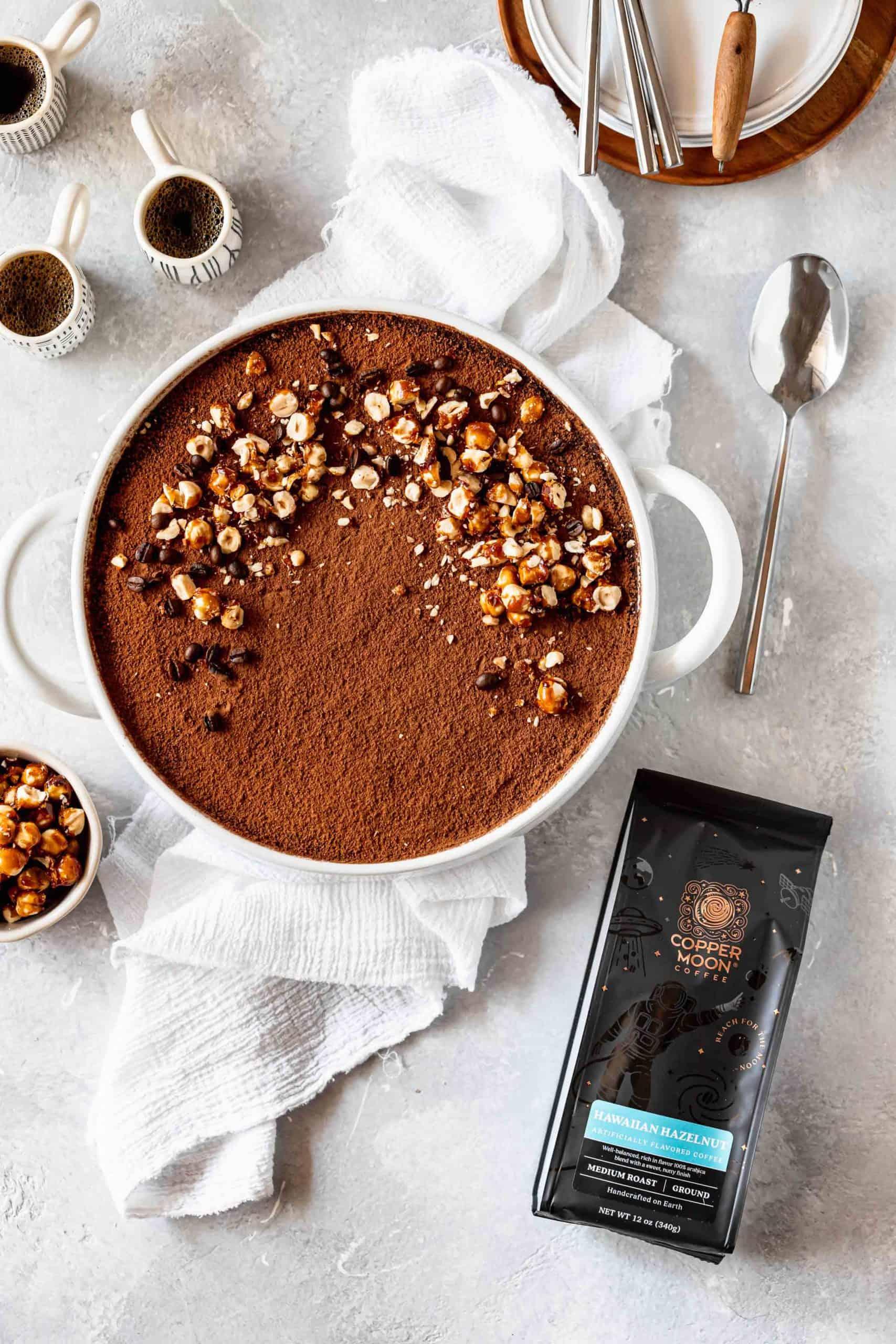 hazelnut tiramisu with candied hazelnuts and hazelnut flavored coffee