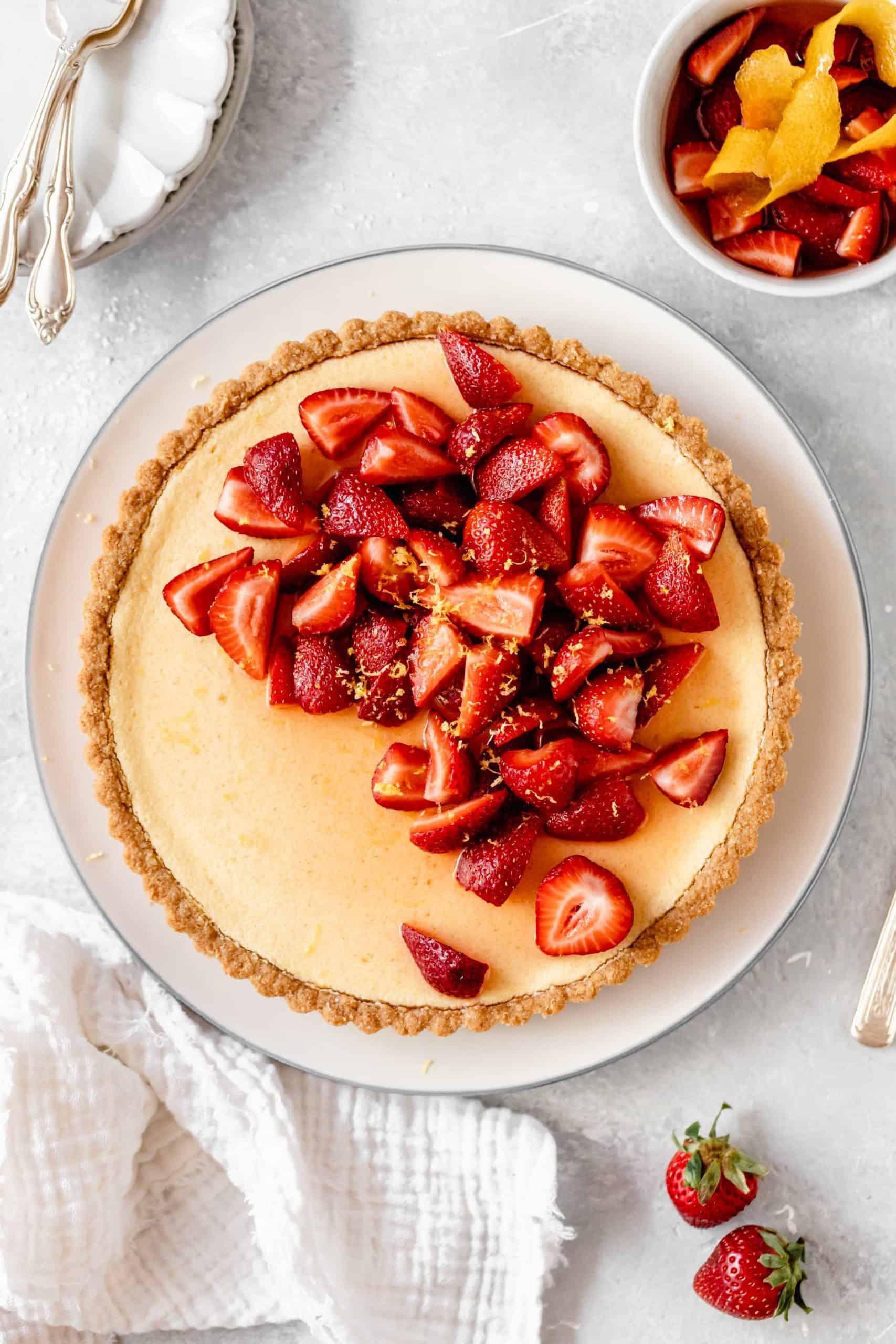 lemon tart topped with strawberries