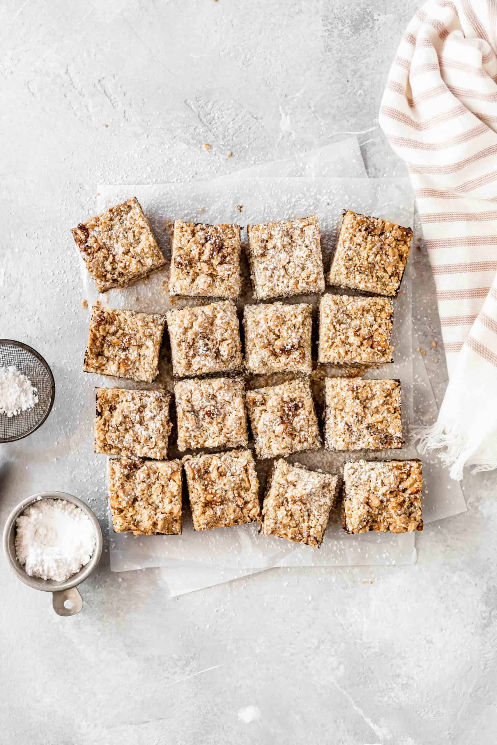 chocolate oat bars on parchment paper