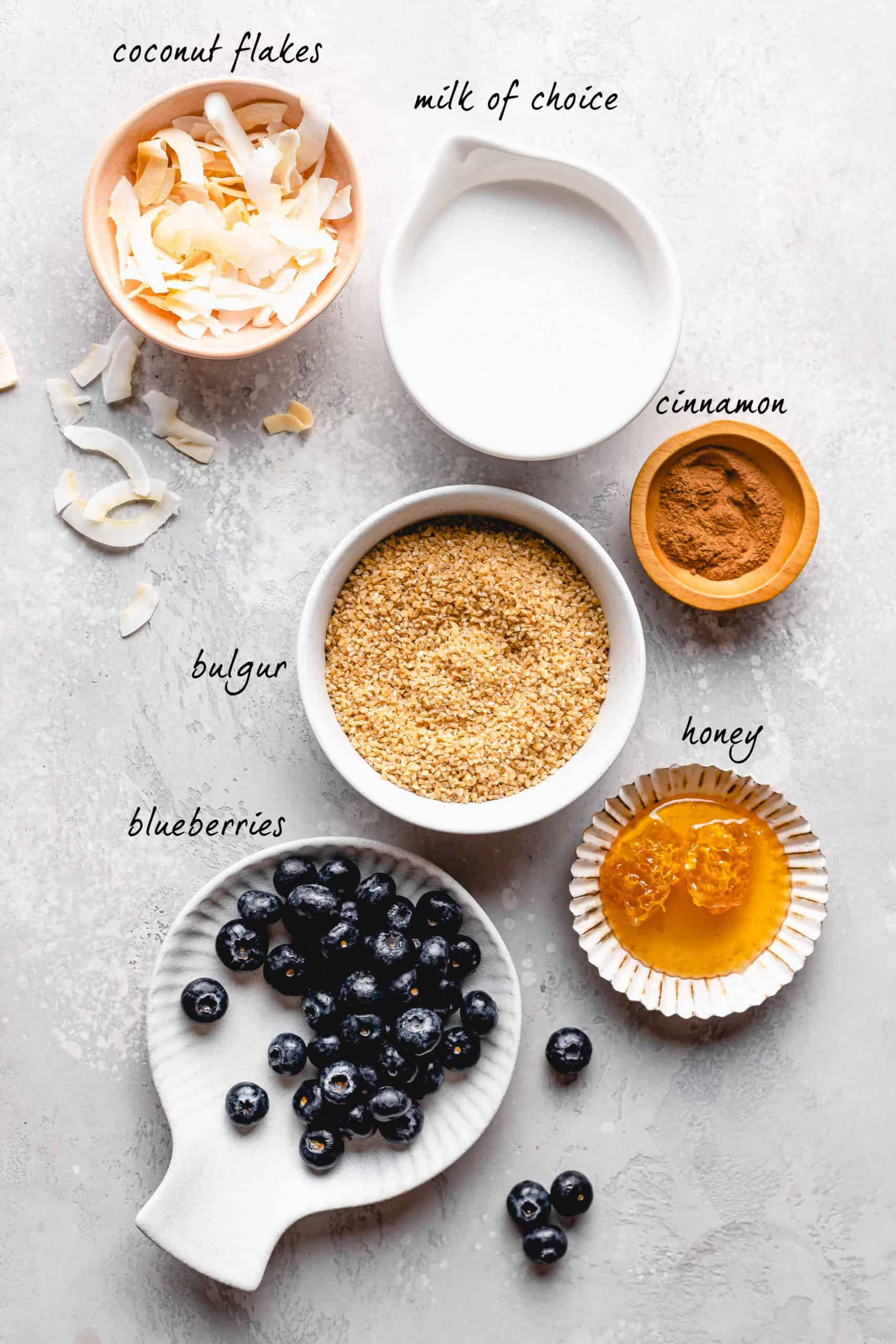 ingredients for bulgur breakfast bowls