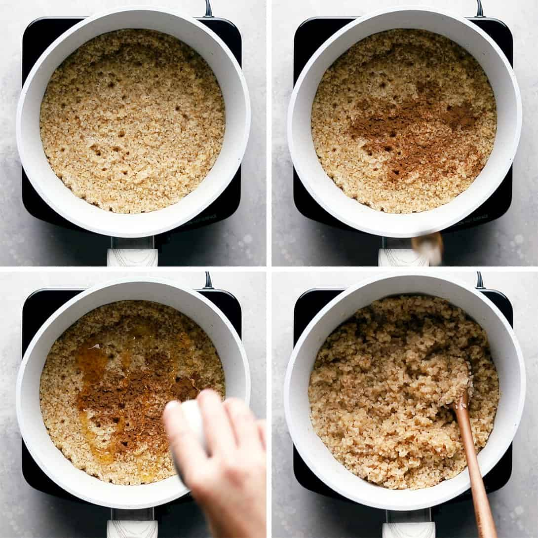 step by step process of how to make breakfast bulgur