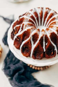 Pumpkin bundt cake with glaze