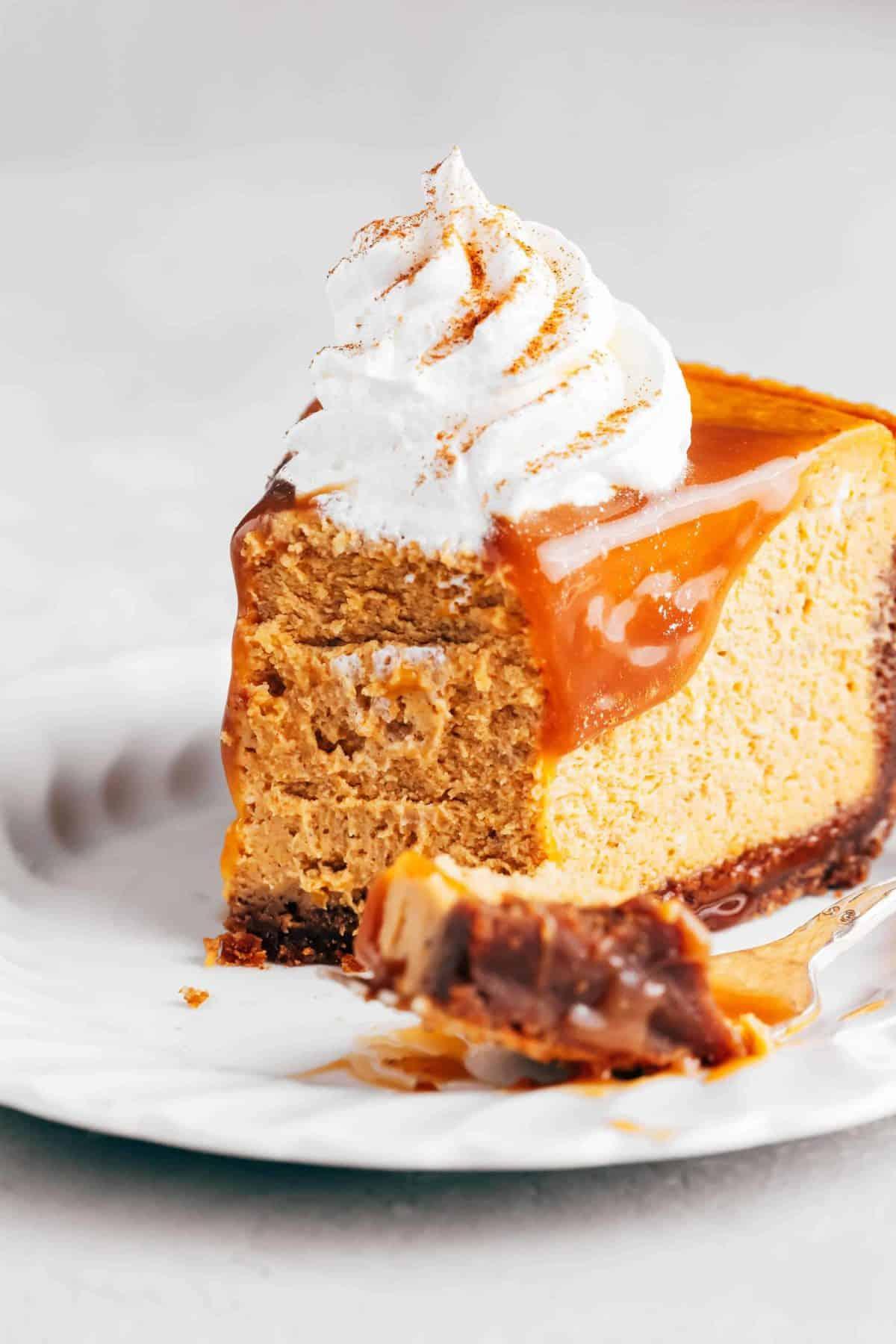 slice of pumpkin cheesecake